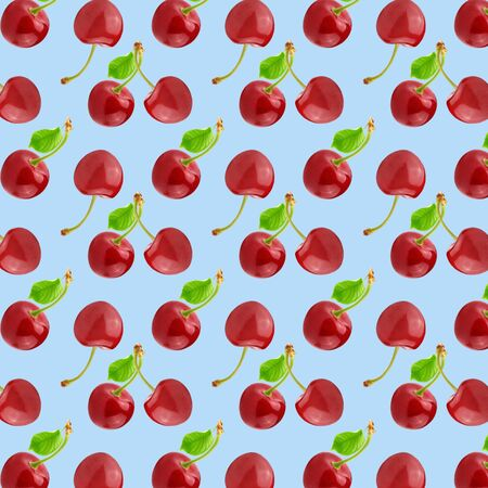 Seamless pattern of many whole cherries fruits with leaf. Collage art. Vegetarian and healthy eating concept. Tropical abstract background. Zdjęcie Seryjne - 140203706