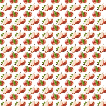 Seamless pattern with Max Red Bartlett pear also called red Williams. Collage art. Vegetarian and healthy eating concept. Package design element and advertising. Full depth of field. Zdjęcie Seryjne - 140203790