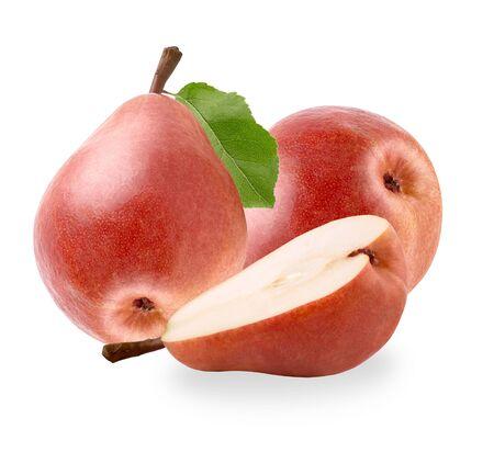 Pear fruits with leaf isolated on white background Zdjęcie Seryjne - 140234423