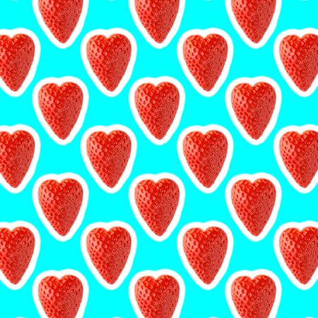 seamless food pattern with fresh fruit on light cyan background