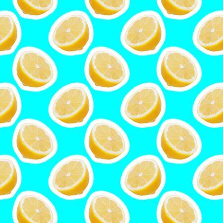 seamless food pattern with fresh slice lemon on light cyan background