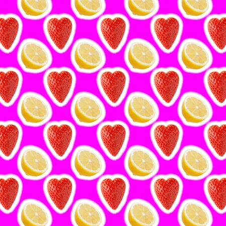 seamless food pattern with fresh slice lemon and strawberries on pink background Zdjęcie Seryjne - 140234470