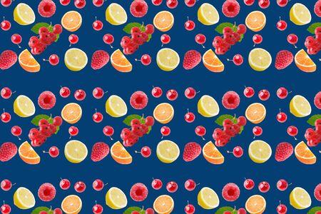 seamless food pattern with fresh fruits on classic blue background Zdjęcie Seryjne