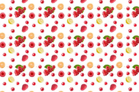 seamless food pattern with fresh fruits on white background
