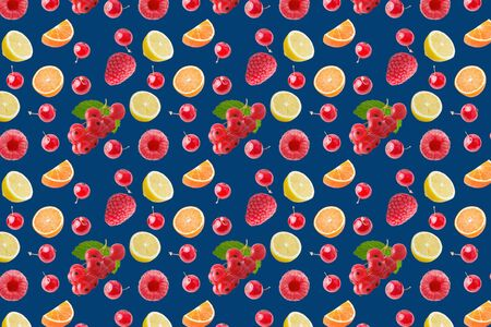 seamless food pattern with fresh fruits on classic blue background Zdjęcie Seryjne - 140234475