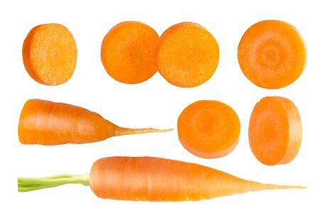 set fresh carrot fruits isolated on white background
