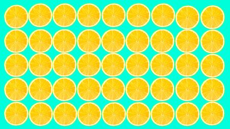 Seamless fruit pattern on neon green surface. Bright colored lemon slices. Textile composition. Contemporary art collage. An alternative view of food. Zdjęcie Seryjne - 142070871