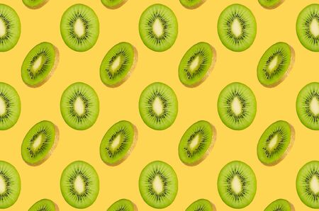 seamless food pattern with fresh fruits on neon yellow background