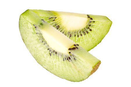 Slice green fresh kiwi isolated on white Zdjęcie Seryjne