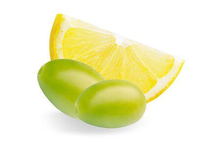 Whole green olives and slice fresh lemon isolated