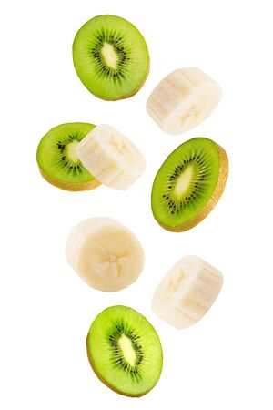 Falling banana and kiwi fruits isolated on white background. Zdjęcie Seryjne - 143082463