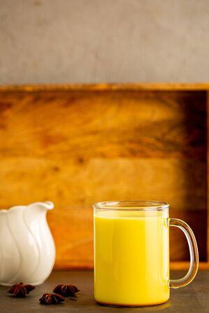 Turmeric latte, healthy hipster drink. Ayurvedic drink, alternative medicine.