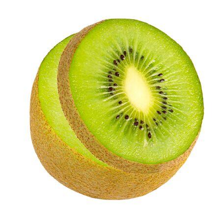 Slice green fresh kiwi isolated on white Zdjęcie Seryjne - 143221014