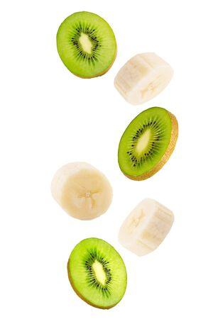 Falling banana and kiwi fruits isolated on white background.