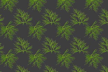 Seamless pattern food. Fresh green dill leaves on grey background. Zdjęcie Seryjne