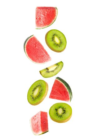 Flying fresh fruit mix. Watermelon and kiwi fruits  on white background    as package design element and advertising. Full depth  field. Zdjęcie Seryjne