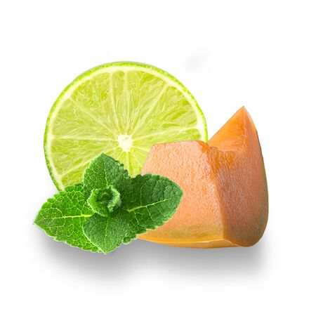 Isolated mix fruits. Lime and melon slices with fresh leaves of mint on white background with clipping path as pack as package design element and advertising. Full depth of field. Zdjęcie Seryjne