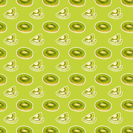 Food pattern. Creative collage with fresh slice kiwi on colored background. Food texture
