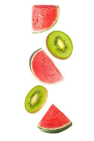 Floating watermelon and kiwi fruit isolated on white Zdjęcie Seryjne