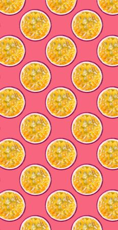 Food pattern of maracuya fruit on yellow background with shallow depth of field flying