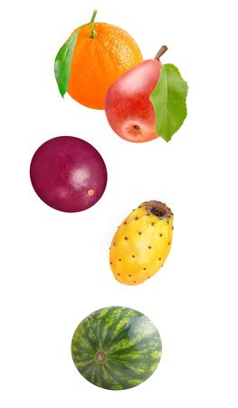 Flowing fruits isolated on white background with shallow depth of field