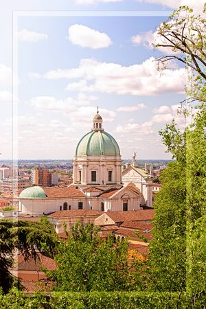 Concept of holidays in europe. Digital frame. Postcard with cathedral of Brescia on a summer day.
