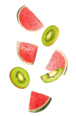 Flowing mix of fruits isolated on white background with shallow depth of field Archivio Fotografico