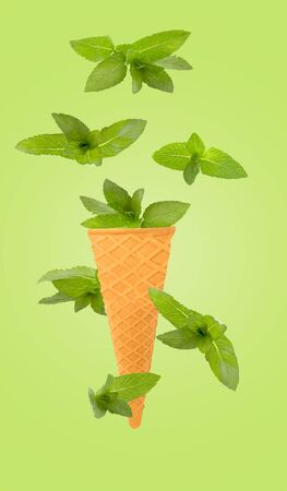 Flying isolated fruit into ice cream cone. Mint leaves on pastel green background for packaging design and advertising. Clipping path included. Archivio Fotografico