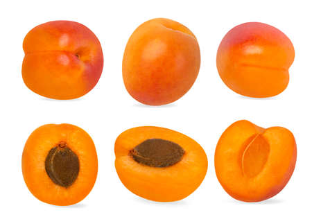 Apricots collection isolated on white background Archivio Fotografico
