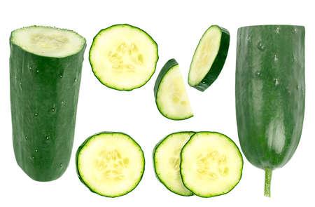 set fresh cucumbers isolated on white background