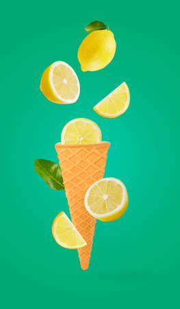 ice cream cones with fresh fruits falling in motion