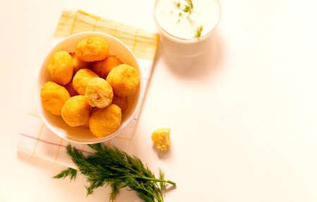 Flat lay small homemade ricotta cheese balls donuts Zdjęcie Seryjne