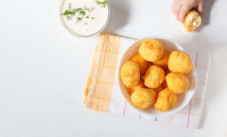 Flat lay homemade ricotta cheese balls donuts Zdjęcie Seryjne