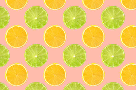 Pattern of fresh fruits isolated on creative colored texture Archivio Fotografico - 159234419