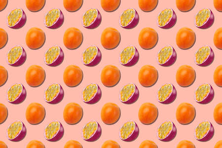 Pattern of fresh fruits isolated on creative colored texture Archivio Fotografico - 159234420