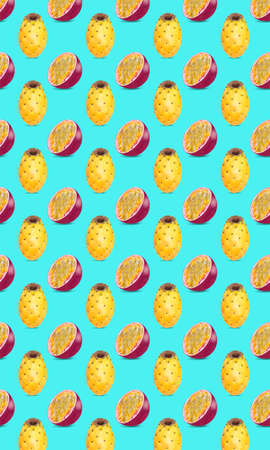 Pattern of fresh fruits isolated on creative colored texture Archivio Fotografico - 159234428
