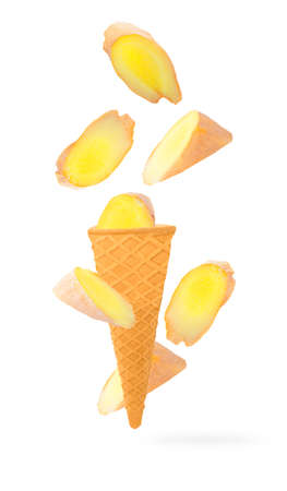Sweet flying fruits in ice cream waffle cone in motion Archivio Fotografico - 159198876
