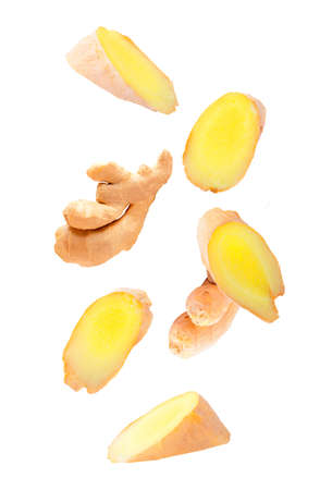 Ginger fruits isolated in the air on white background Archivio Fotografico - 159199177