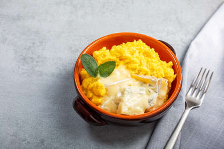 Dish of polenta with melted gorgonzola cheese Archivio Fotografico - 159198602