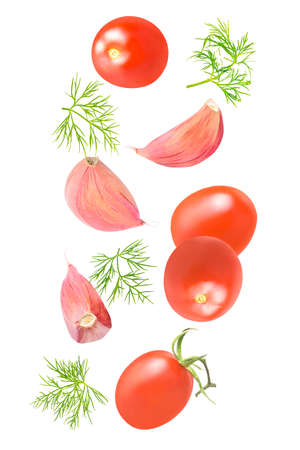 Set of flying fresh ingredients for salad on white background