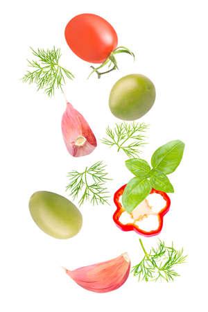 Creative flying fresh salad ingredients on white background Archivio Fotografico