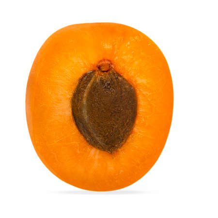 Half apricot isolated on the white with shadow