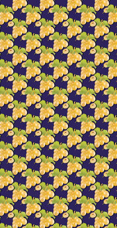 Bunch of white grapes pattern on dark blue color background. Minimal flat lay food texture