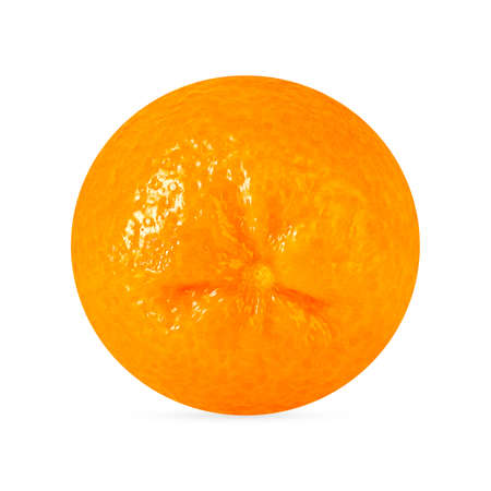 One perfect retouching tangerine fruit with shadow isolated on white Archivio Fotografico