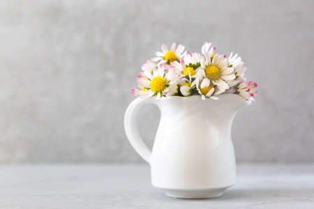 Beautiful daisy flowers in ceramic white vase on ultimate gray background