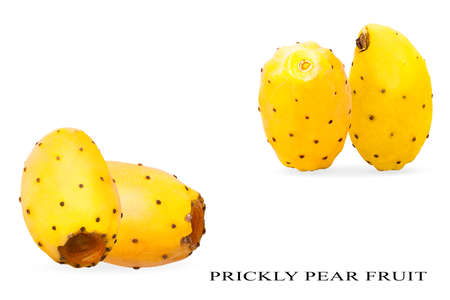 Creative idea layout with fresh opuntia fruit. Two pair of whole yellow prickly pears cactus fruits on white background Archivio Fotografico