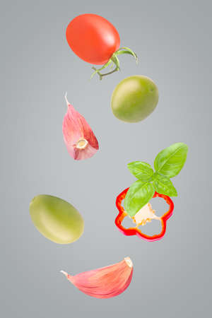Creative seven pieces of flying fresh salad ingredients
