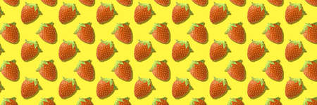 Whole strawberries fruit pattern on yellow color background