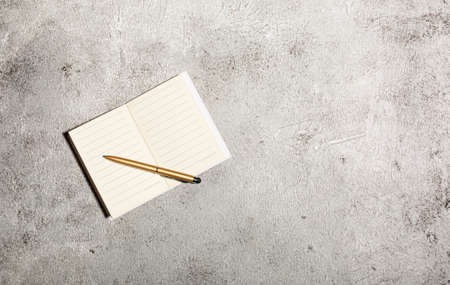 Mockup with open lined notebooks and pen isolated on concrete background