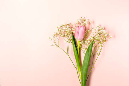 Flat lay with tulip and gypsophila flowers on pastel pink Archivio Fotografico